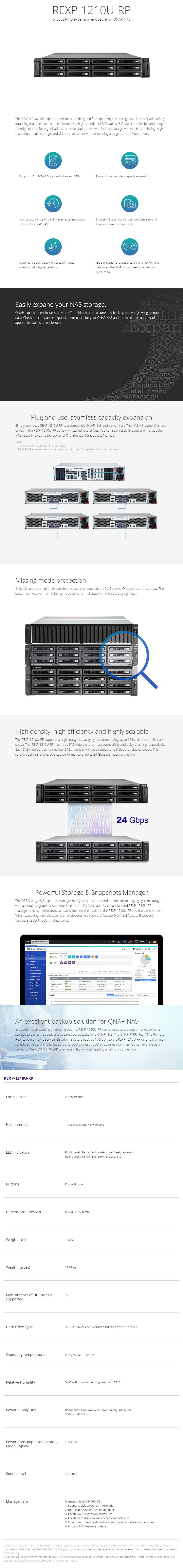 QNAP REXP-1210U-RP 12 Bay Expansion Enclosure for QNAP NAS - Overview 1