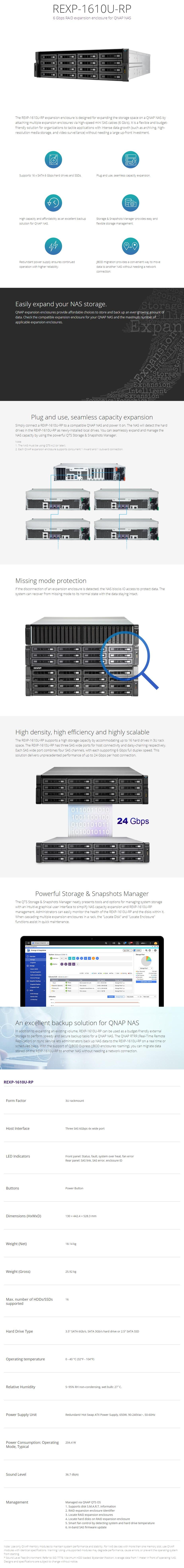 QNAP REXP-1610U-RP 16 Bay Expansion Enclosure for QNAP NAS - Overview 1