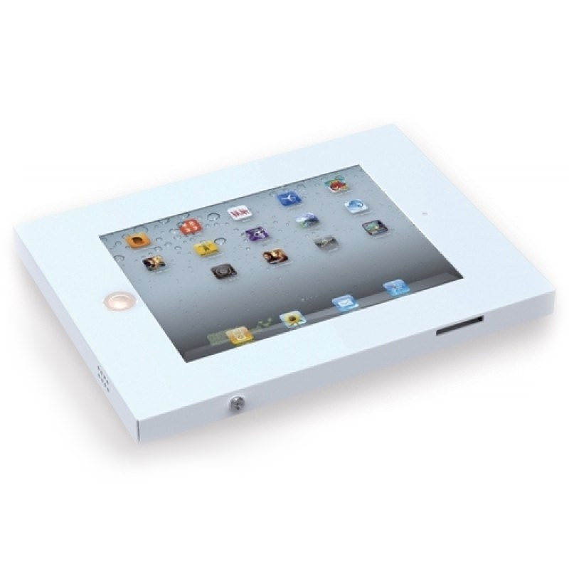 Q-Tee PAD12W Anti-theft Steel iPad Mount with Lock - White