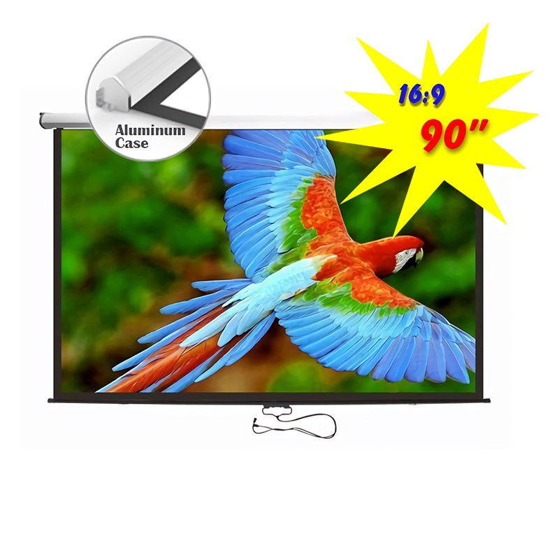 "Q-Tee PBMA90 Aluminium Manual Screen With Auto-Lock 90""/16:9 - Overview 1"