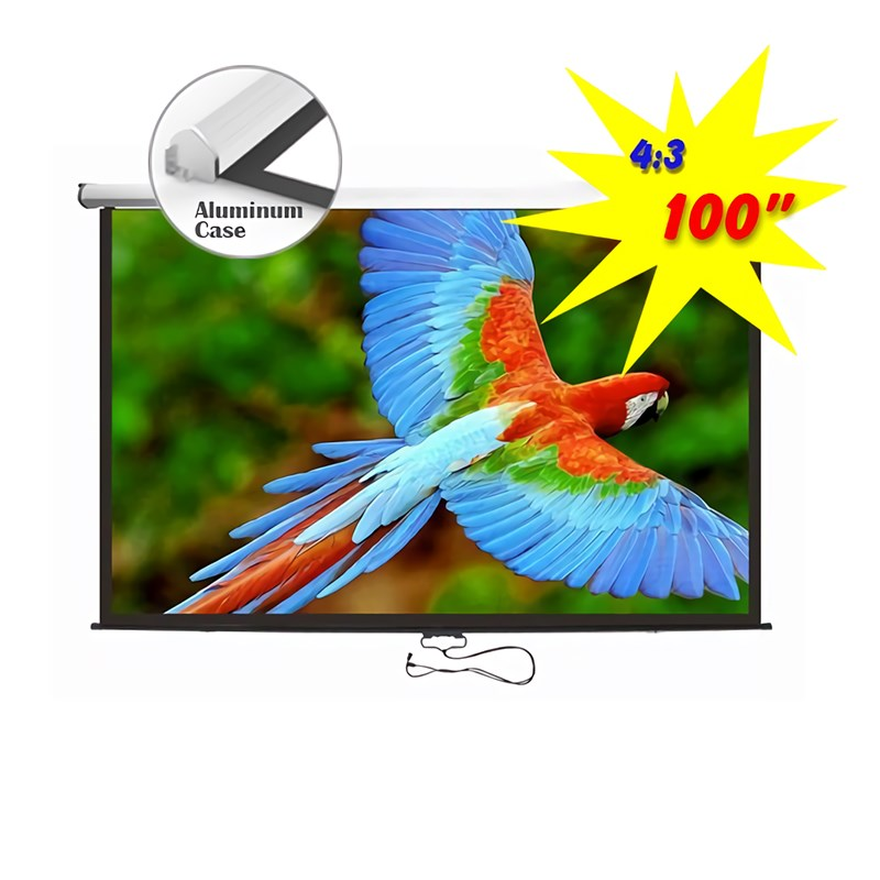 "Q-Tee PMBC100 Aluminium Auto-Lock Manual Projection Screen 100""/4:3 - Overview 1"