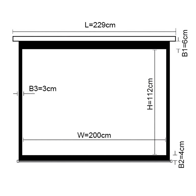 """Q-Tee PSAA90 Standard Electronic Projection Screen 90""""/16:9 - Overview 1"""