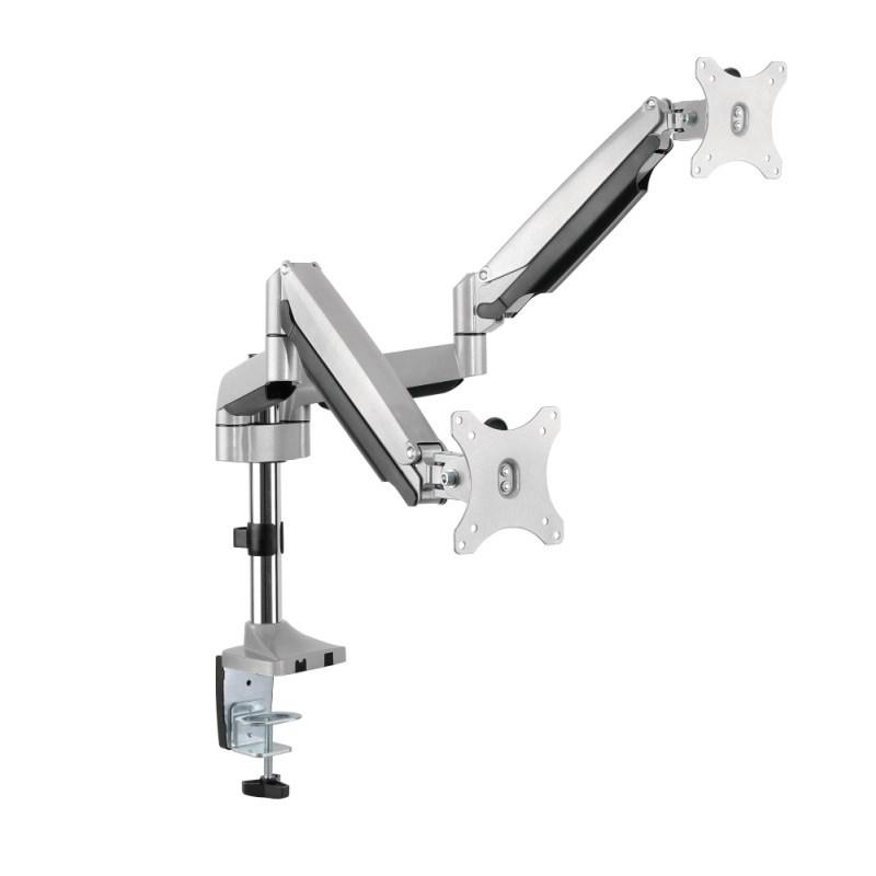 "Q-Tee QDT10-C024P 13""-32"" Double Monitor Polished Aluminium Desk Mount"