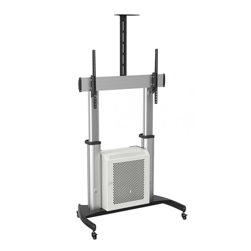 "Q-Tee QTL07C-610TW 65""-100"" TV XL Aluminium Mobile Trolley W/ Lockable Cabinet"