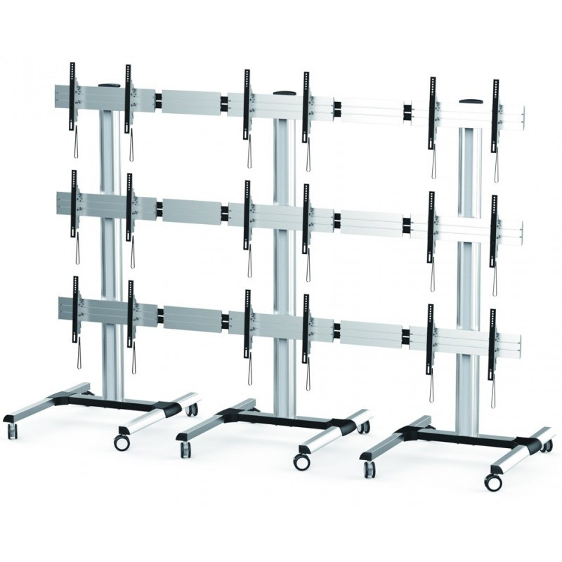 """Q-Tee QVS01-346FW 45-55"""" Triple Video Wall TV Trolley - Modular Design Up to 5x3 - Overview 1"""