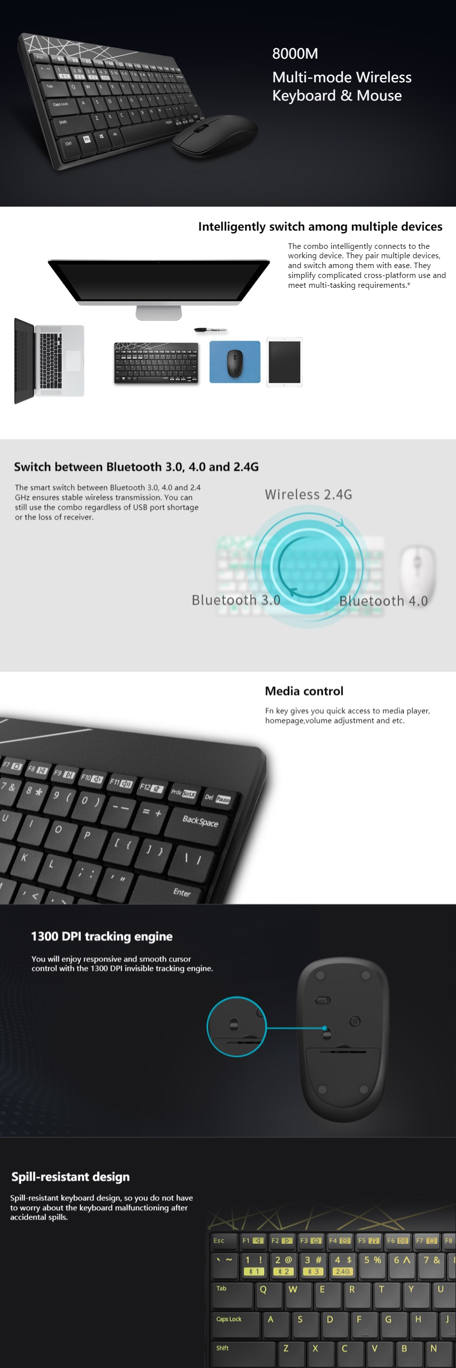 Rapoo 8000M Compact Wireless Bluetooth Keyboard and Mouse Combo - Black - Overview 1