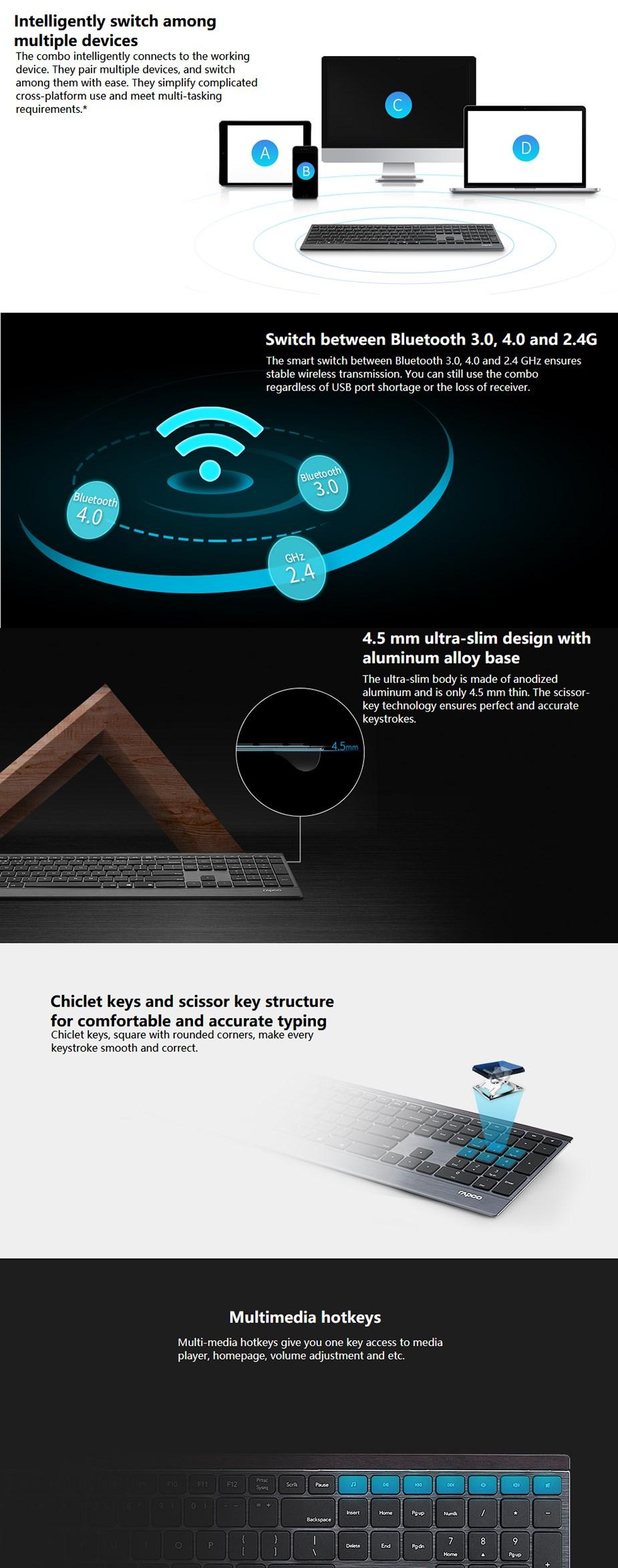 Rapoo E9500 Multi-mode Ultra Slim Wireless Keyboard - Overview 1
