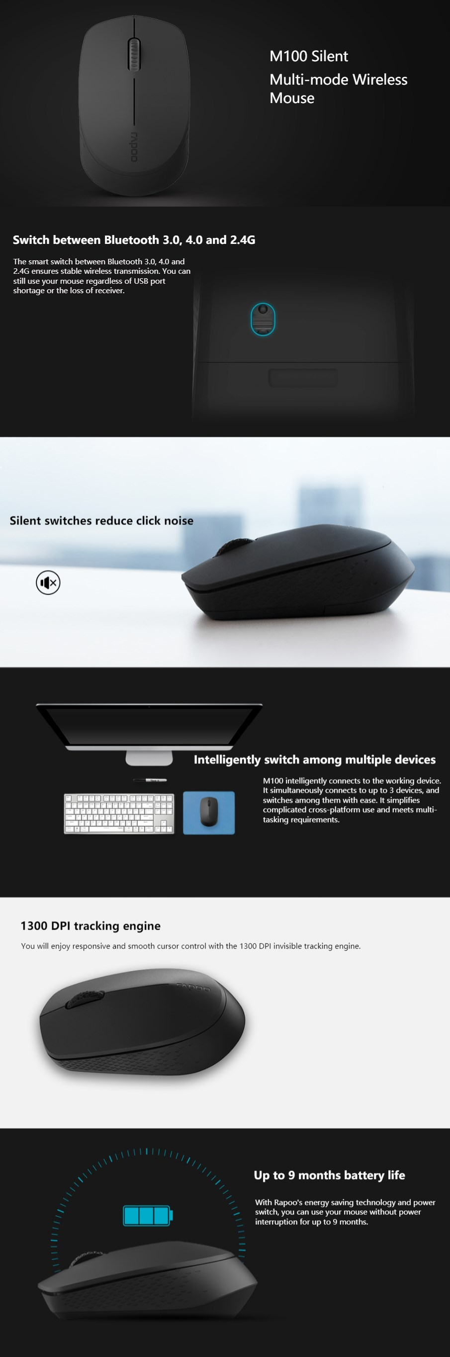 Rapoo M100 Multi-Mode Wireless Bluetooth Quiet Click Mouse - Black - Overview 1
