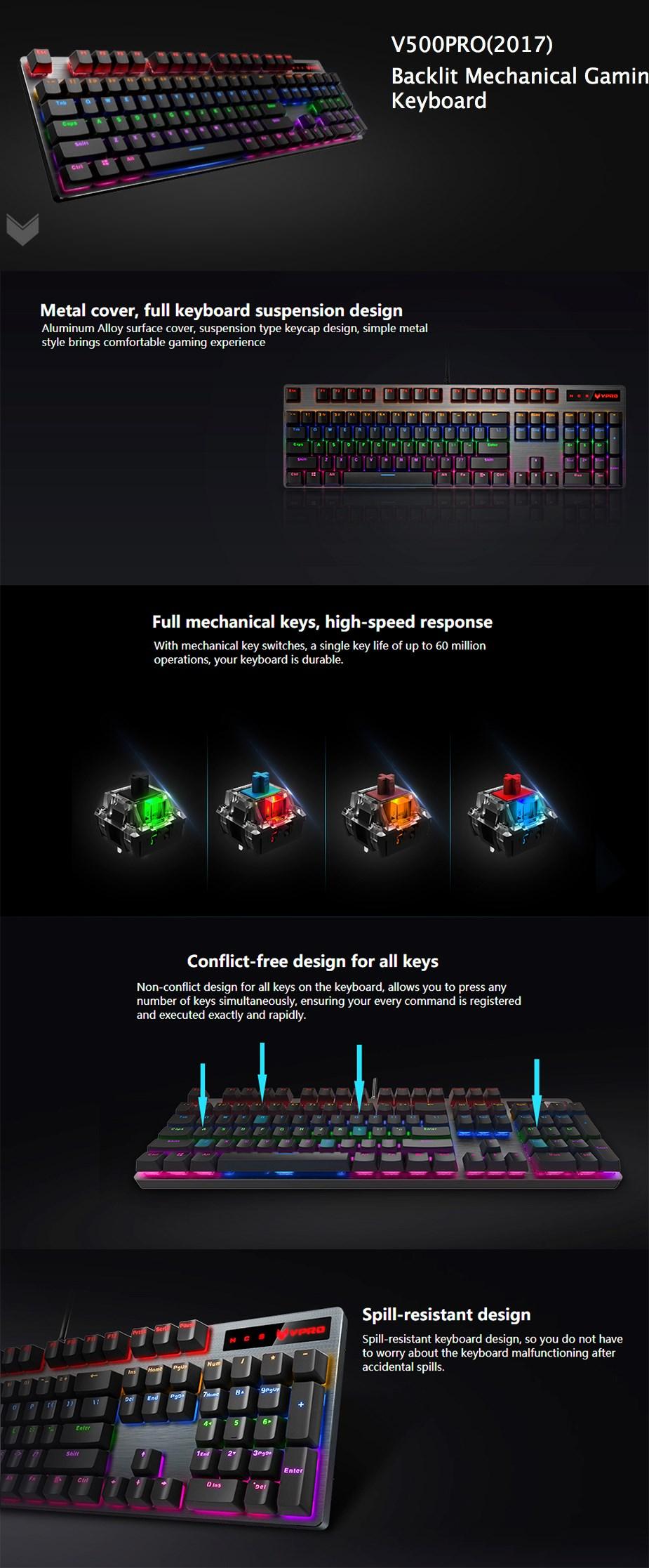 Rapoo V500proBacklit Mechanical Gaming Keyboard - Blue Switch - Overview 1