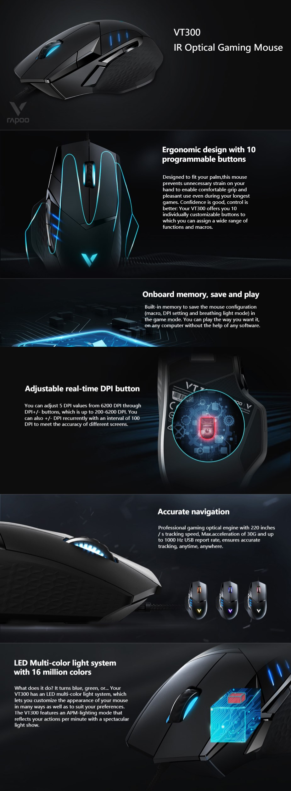 Rapoo VT300 RGB Optical Gaming Mouse - Overview 1