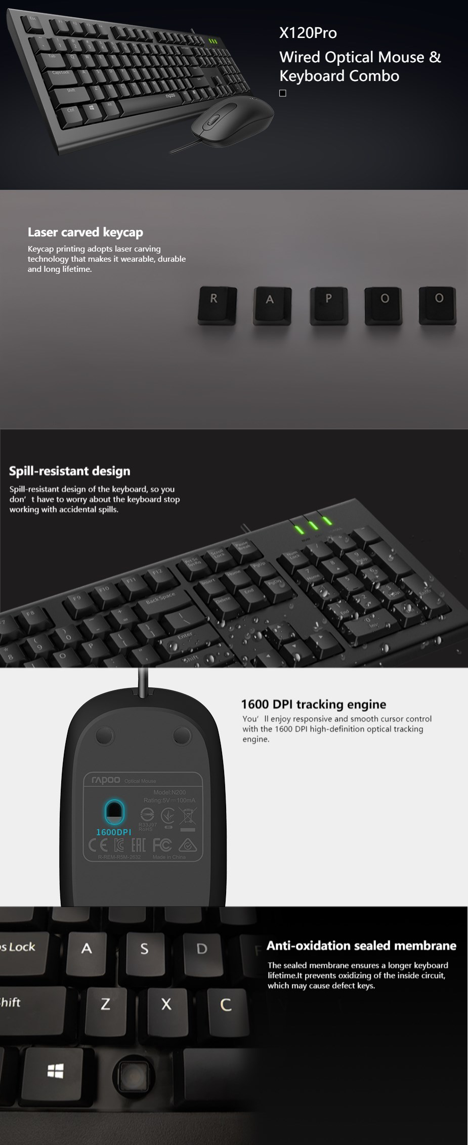 Rapoo X120pro Wired Spill-Resistant Keyboard and Optical Mouse Combo - Overview 1