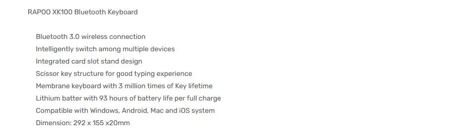 Rapoo XK100 Bluetooth Wireless Keyboard - Overview 1