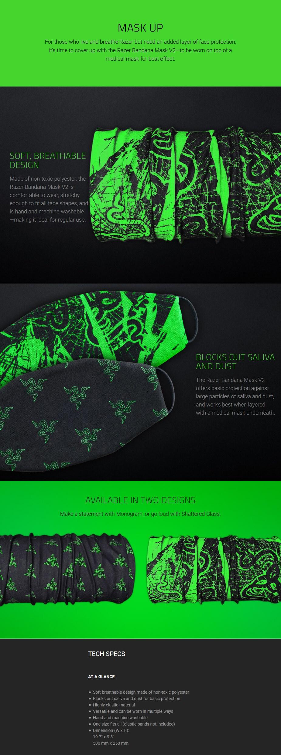 Razer Bandana Mask - Shattered Glass V2 - Overview 1