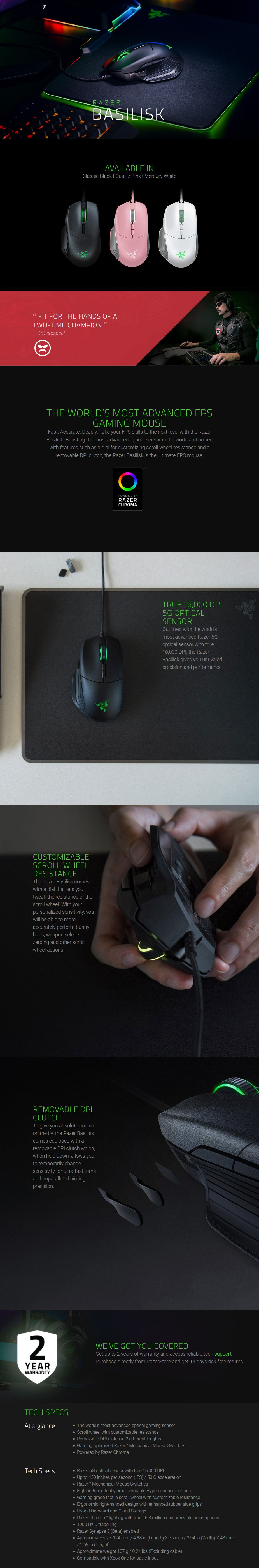Razer Basilisk Chroma Ergonomic Gaming Mouse - Quartz - Overview 1