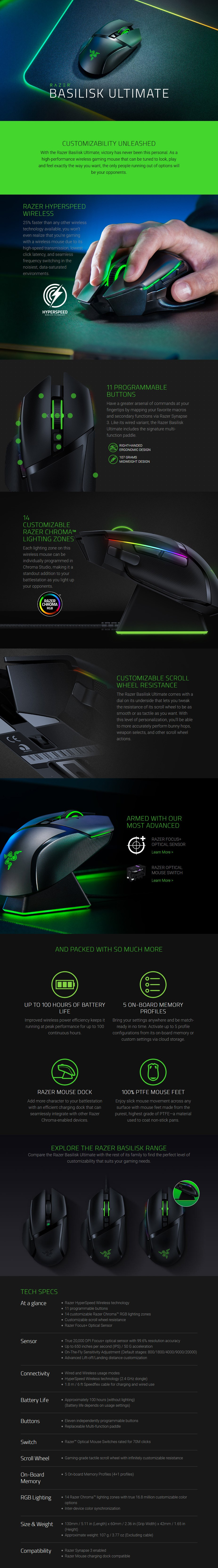 Razer Basilisk Ultimate Wireless Ergonomic Optical Gaming Mouse - Overview 1