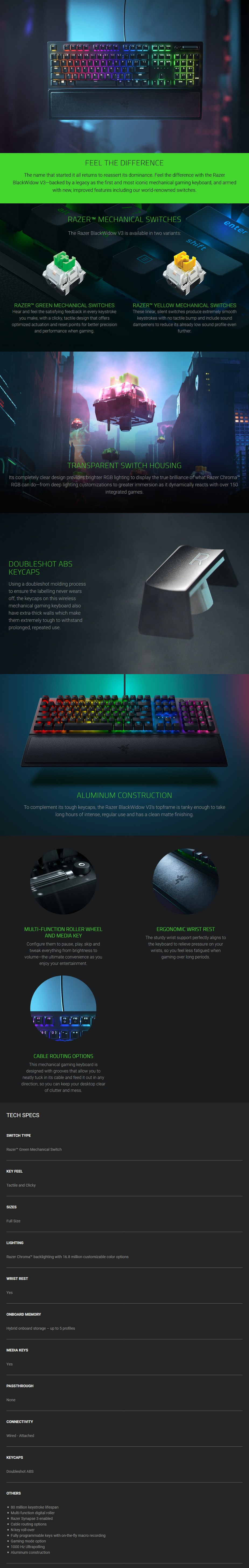 Razer BlackWidow V3 Mechanical Gaming Keyboard - Green Switches - Overview 1