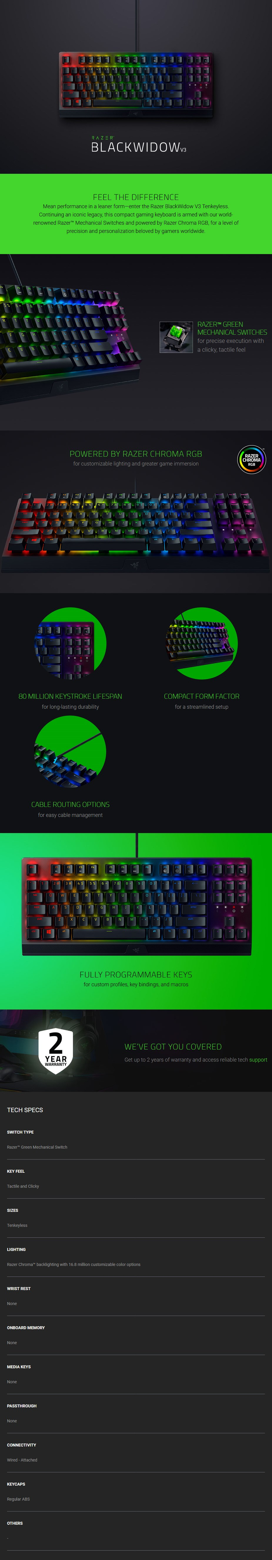 Razer BlackWidow V3 TKL Mechanical Gaming Keyboard - Green Switches - Overview 1
