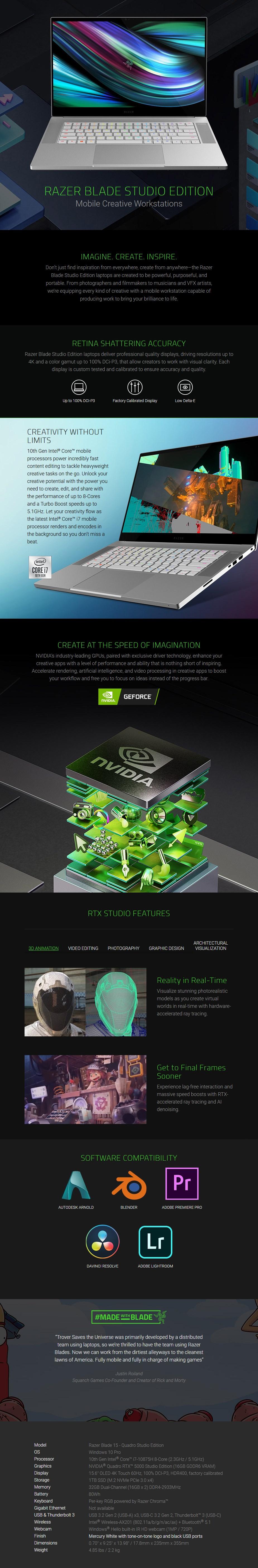 """Razer Blade 15 Studio 15.6"""" 4K Laptop i7-10875H 32GB 1TB RTX 5000 W10P Touch - Overview 1"""