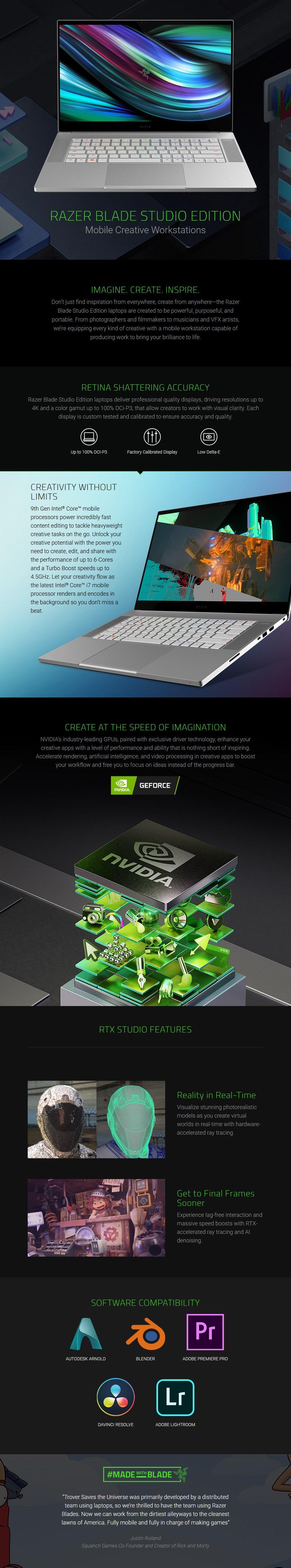 "Razer Blade 15 Studio 15.6"" 4K Laptop i7 32GB 1TB Quadro RTX 5000 W10P Touch - Overview 1"