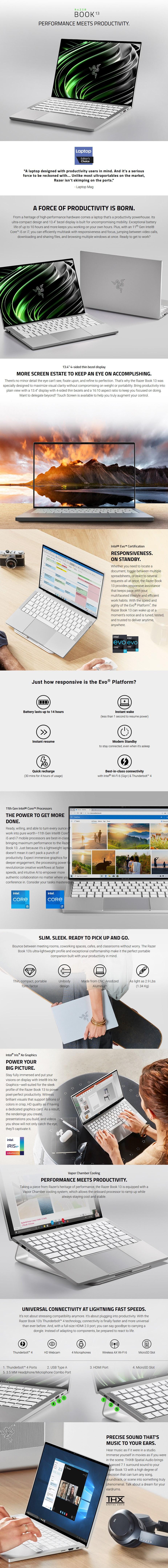 """Razer Book 13 13.4"""" Laptop i7-1165G7 16GB 256GB W10H - Mercury - Overview 1"""