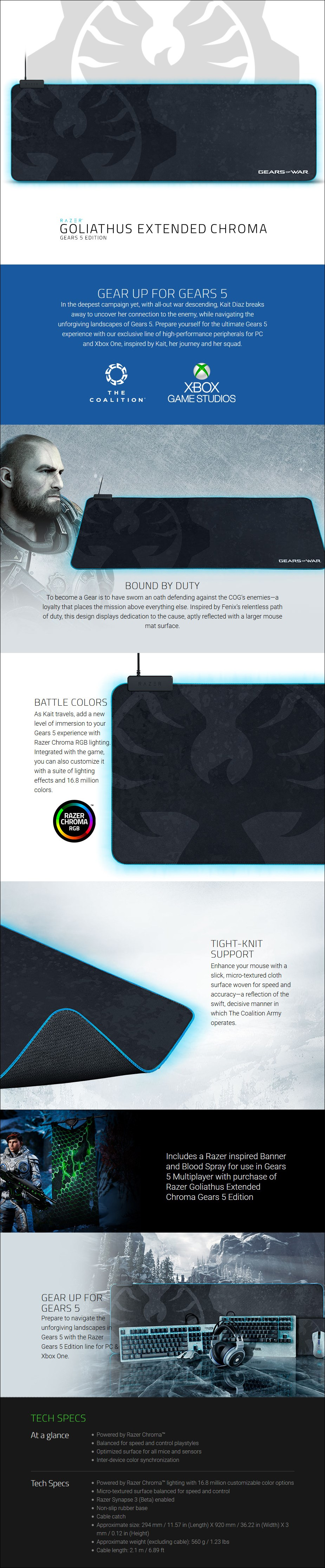 Razer Goliathus Chroma Soft Extended Gaming Mouse Pad - Gears 5 Edition - Overview 1