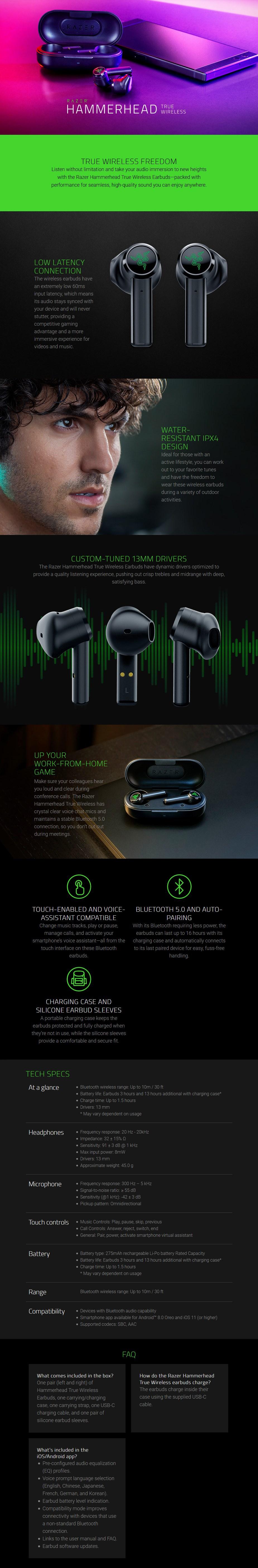 Razer Hammerhead True Wireless Earbuds - Mercury - Overview 1