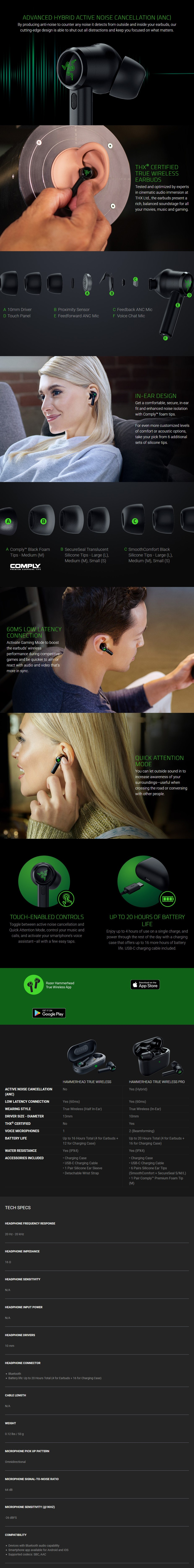 Razer Hammerhead True Wireless Pro Earbuds - Overview 1