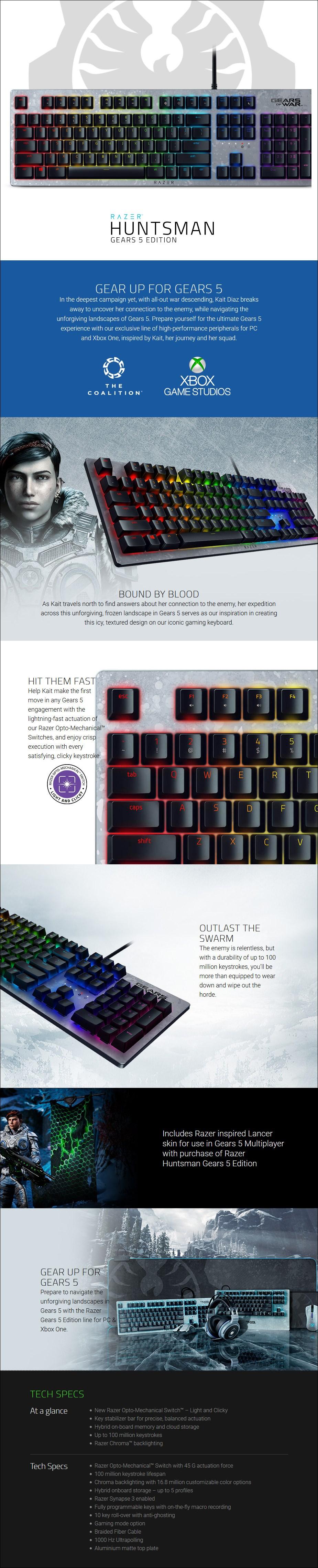 Razer Huntsman Elite Opto-Mechanical Gaming Keyboard - Gears 5 Edition - Overview 1
