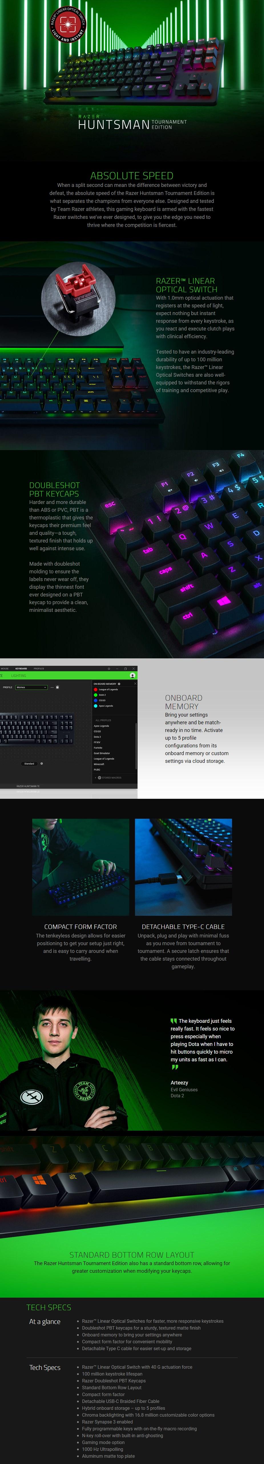 Razer Huntsman Tournament Edition TKL Gaming Keyboard - Linear Optical Switch - Overview 1