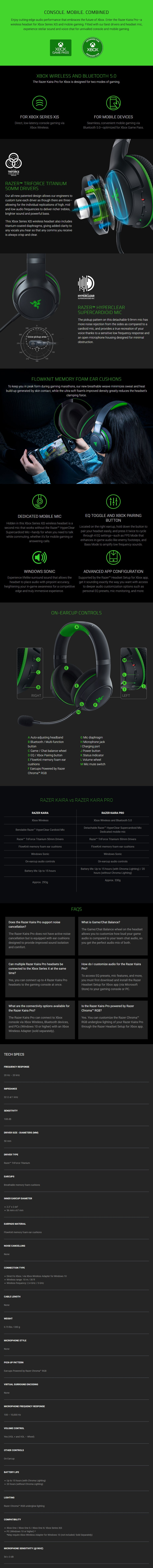 Razer Kaira Pro Wireless Gaming Headset for Xbox Series X - Overview 1