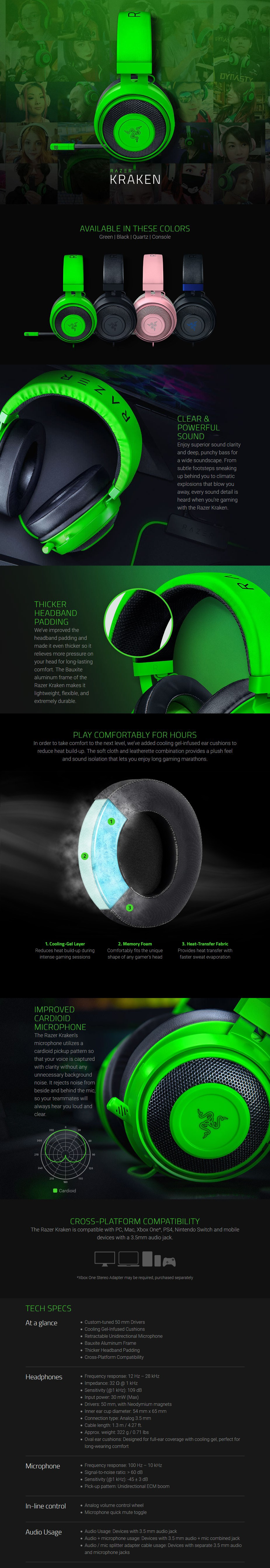 Razer Kraken Multi-platform Wired Gaming Headset - Quartz - Overview 1