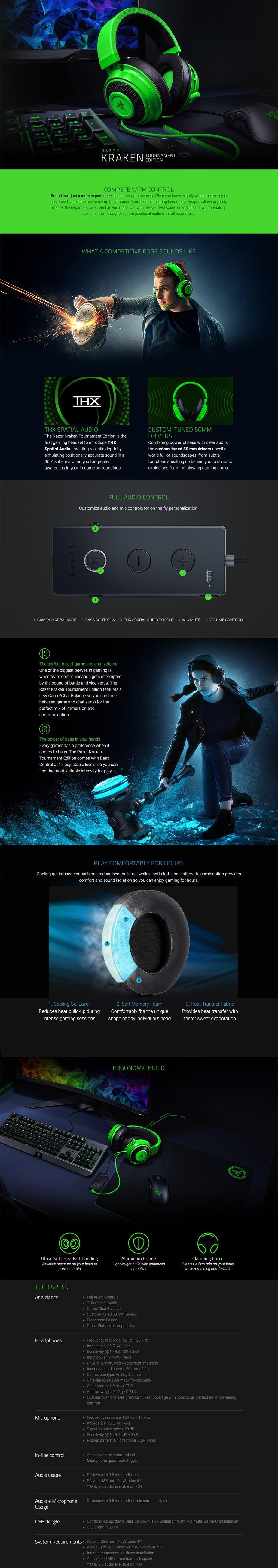 Razer Kraken Tournament Edition Wired Gaming Headset - Black - Overview 1