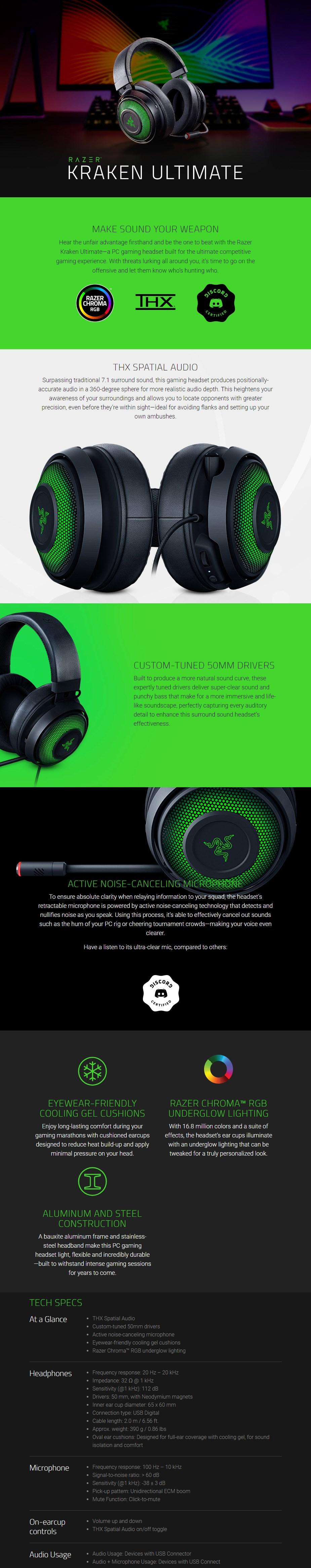 Razer Kraken Ultimate USB Surround Sound Chroma Gaming Headset - Overview 1