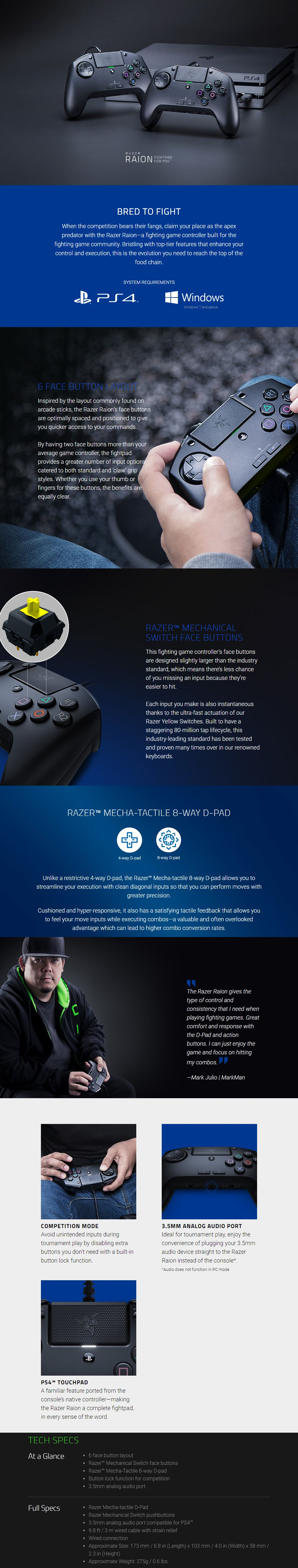 Razer Raion Fightpad Controller for PS4 - Overview 1