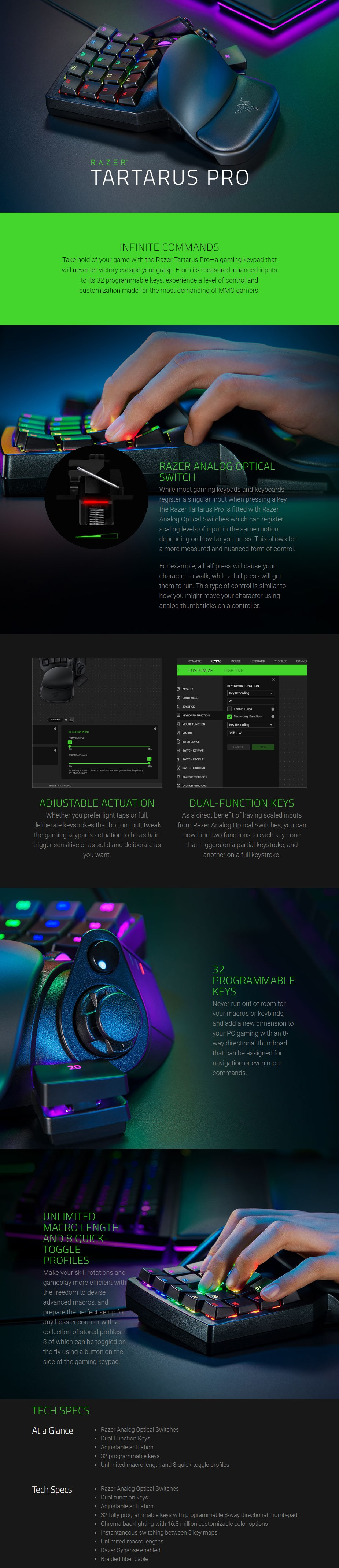 Razer Tartarus Pro Chroma Optical Gaming Keypad - Black - Overview 1