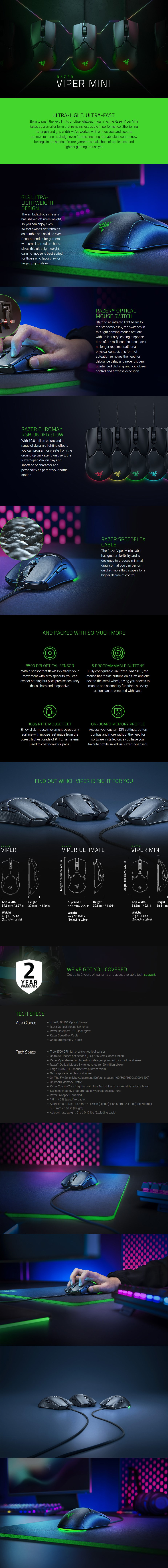 Razer Viper Mini Ambidextrous Optical Gaming Mouse - Overview 1
