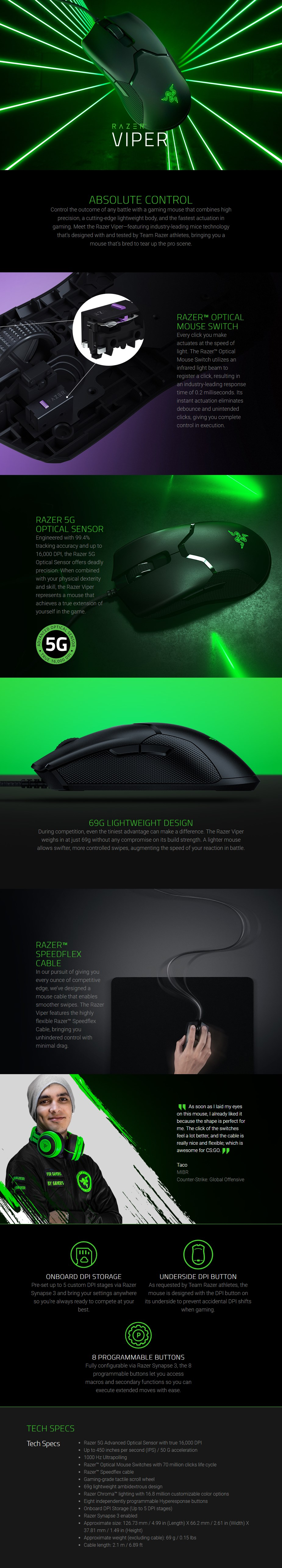 Razer Viper Optical Gaming Mouse - Overview 1
