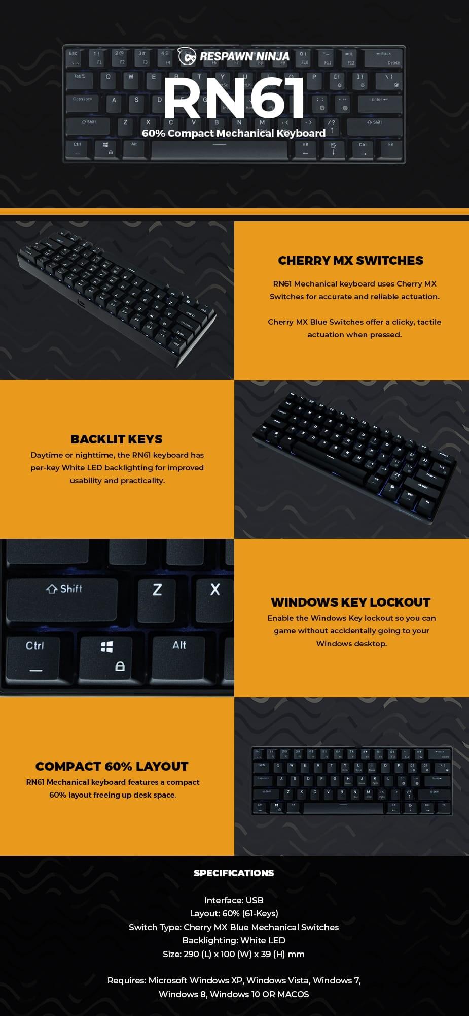 Respawn Ninja RN61 Compact Mechanical Gaming White LED Keyboard - Cherry MX Blue - desktop overview 1
