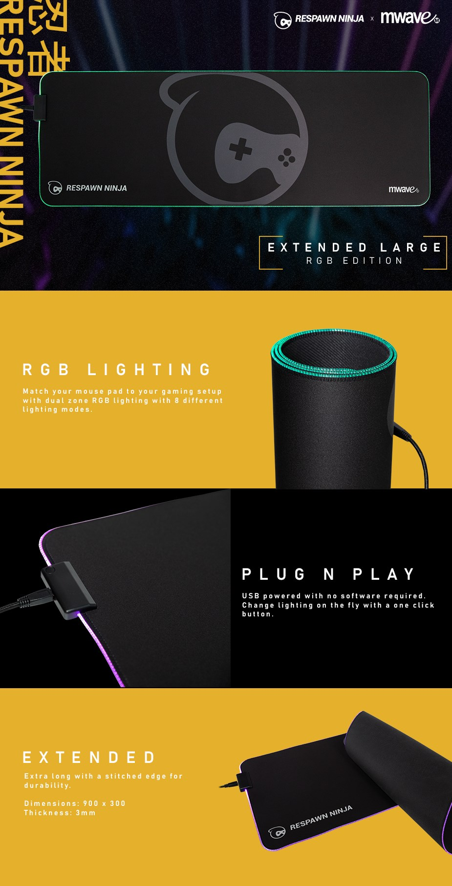 Double Up Bundle: Respawn Ninja x MWAVE Black RGB Gaming Mouse Pad - Extended - Overview 1