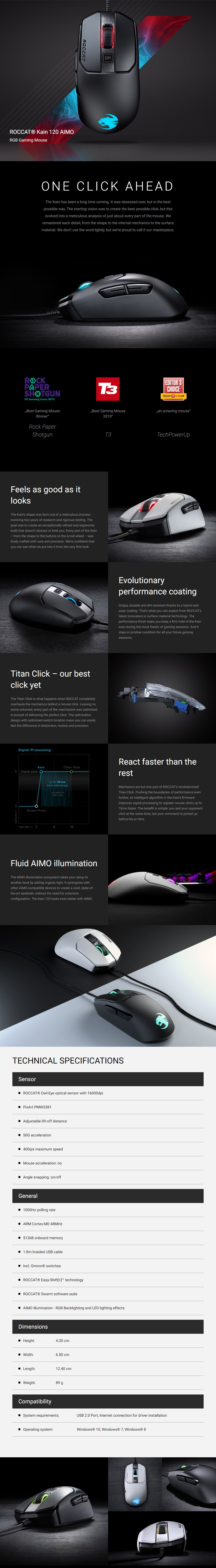 Roccat Kain 120 AIMO RGB Optical Gaming Mouse - Overview 1