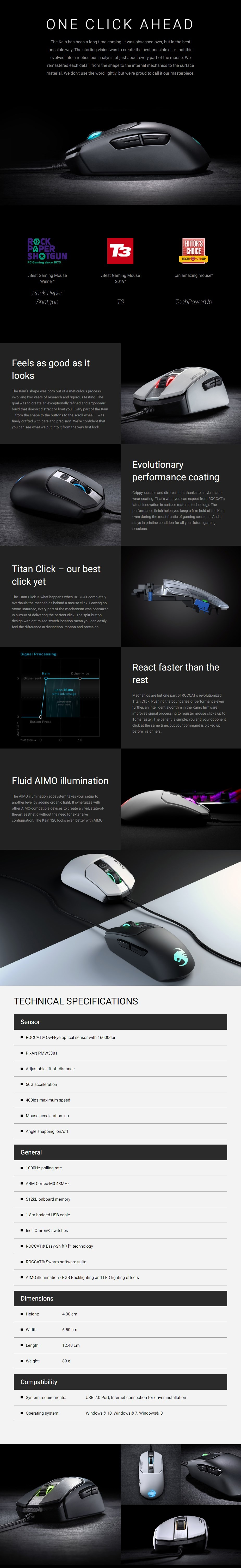 Roccat Kain 122 AIMO RGB Optical Gaming Mouse - White - Overview 1