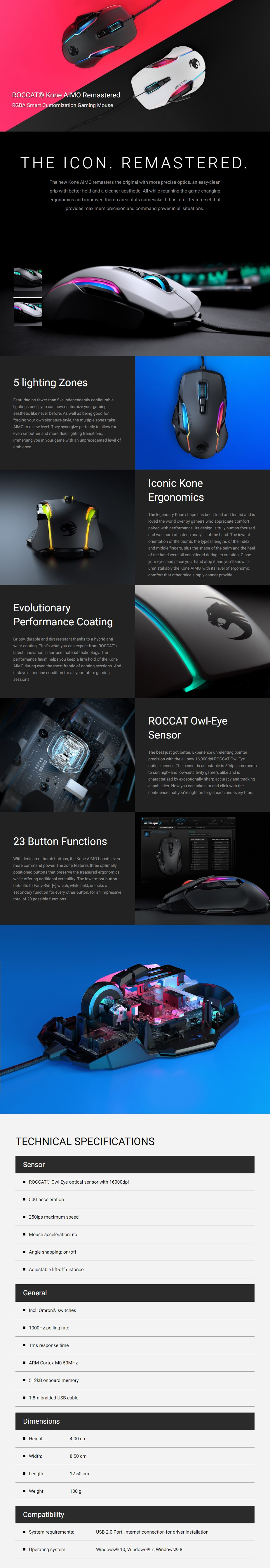 ROCCAT Kone AIMO Remastered RGB Optical Gaming Mouse - White - Overview 1