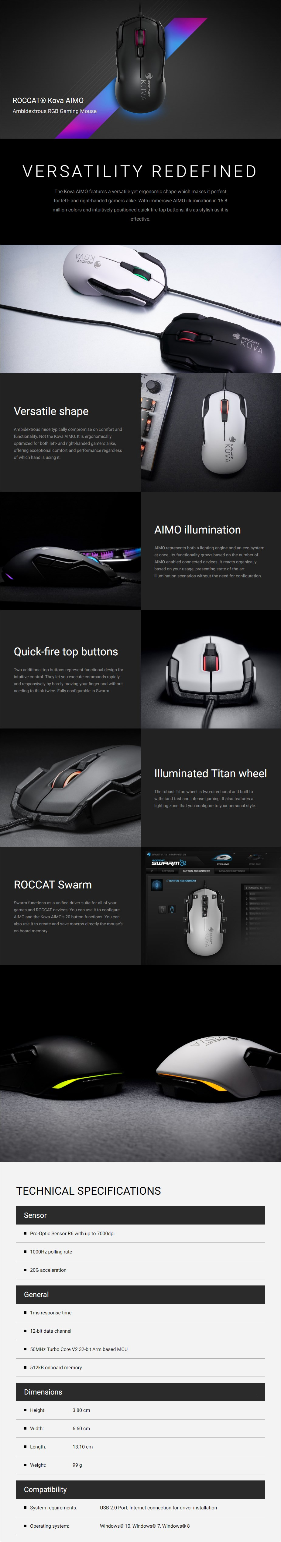 Roccat Kova AIMO Optical Gaming Mouse - Overview  1