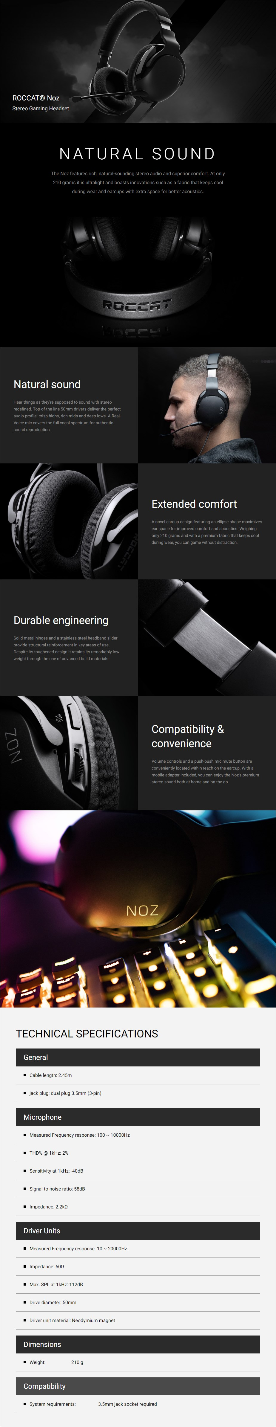 Roccat NOZ Ultralight Stereo Gaming Headset - Overview 1