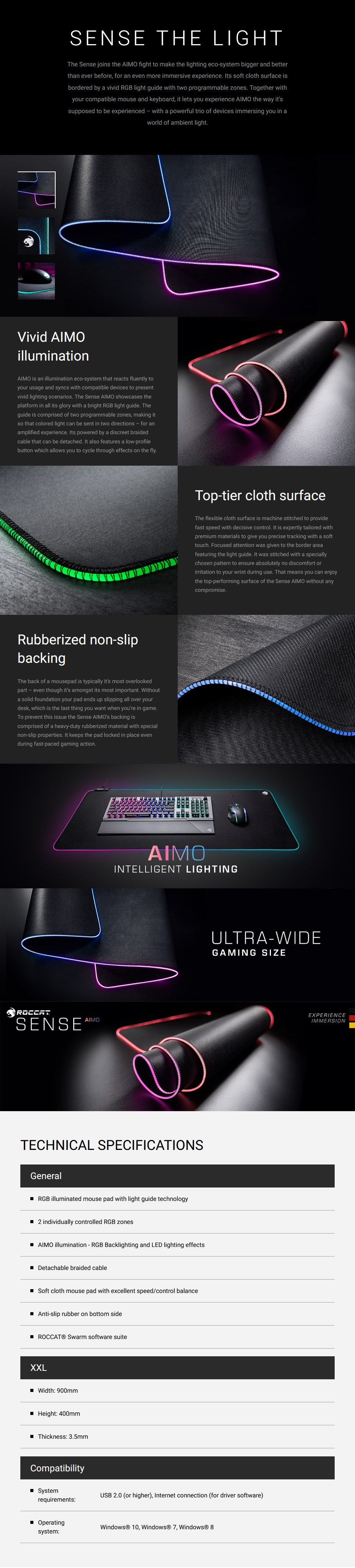 Roccat Sense AIMO RGB Gaming Mouse Pad - XXL - Overview 1