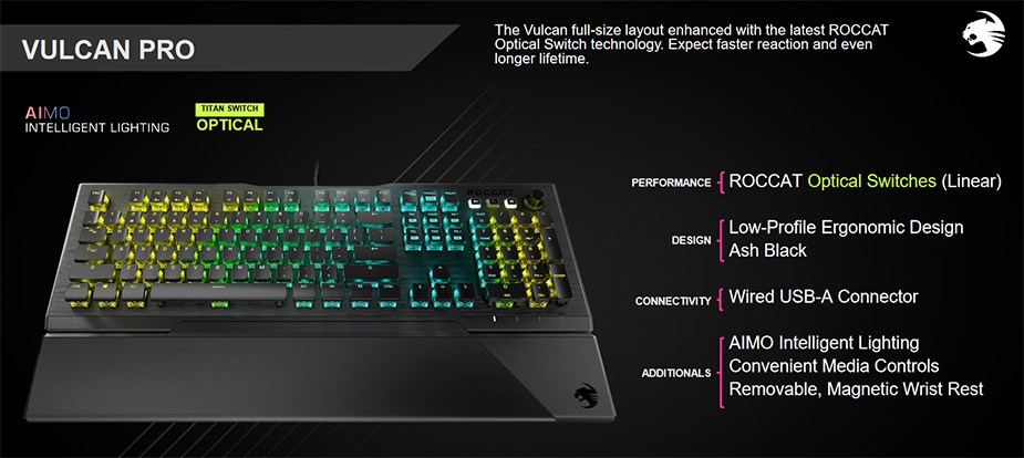 Roccat VULCAN Pro Mechanical RGB Gaming Keyboard - Optical Titan Switches - Desktop Overview 1