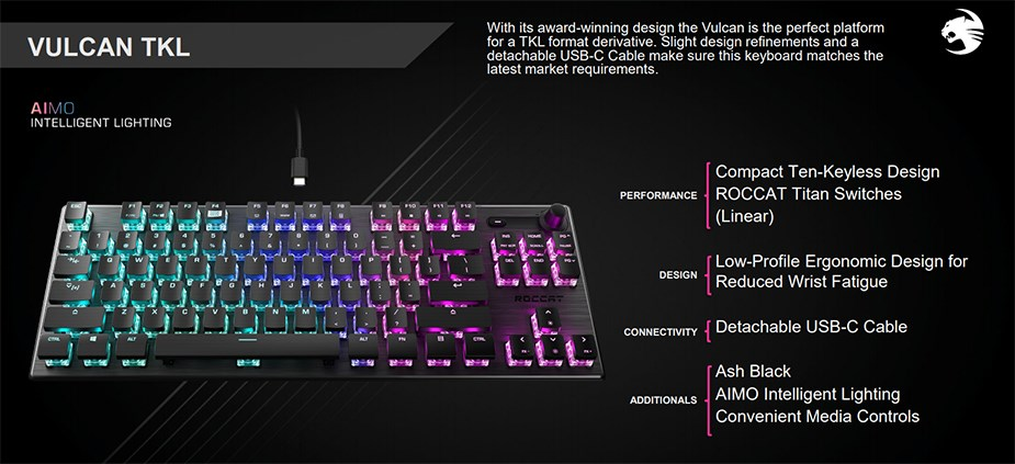 Roccat VULCAN TKL Compact Mechanical RGB Gaming Keyboard - Linear Titan Switch - DesktopOverview 1