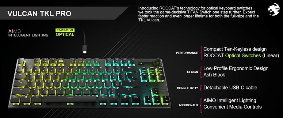 Roccat VULCAN TKL Pro Mechanical RGB Gaming Keyboard - Optical Titan Switches - DesktopOverview 1