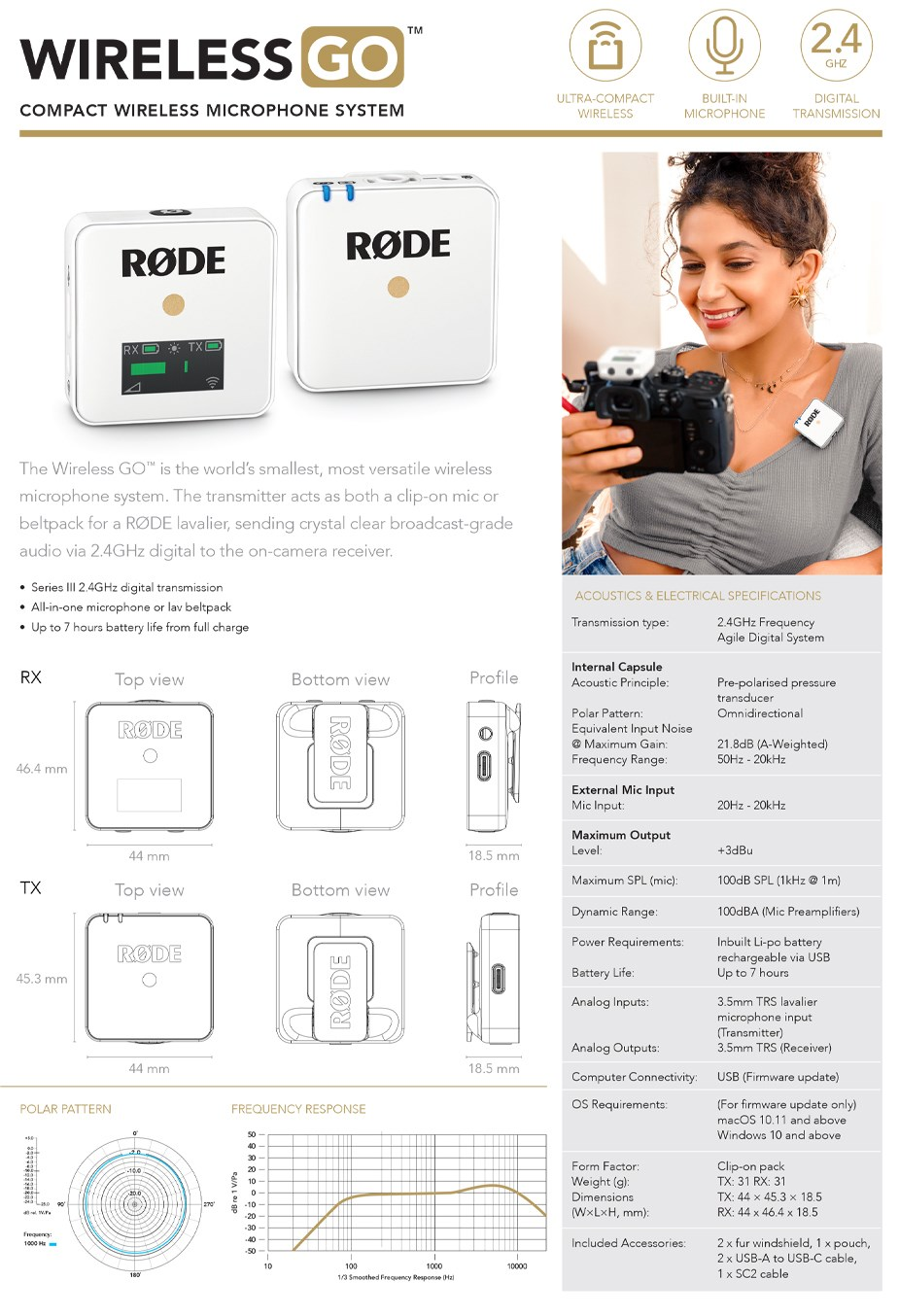 RODE Wireless GO Compact Wireless Microphone System - White - Overview 1
