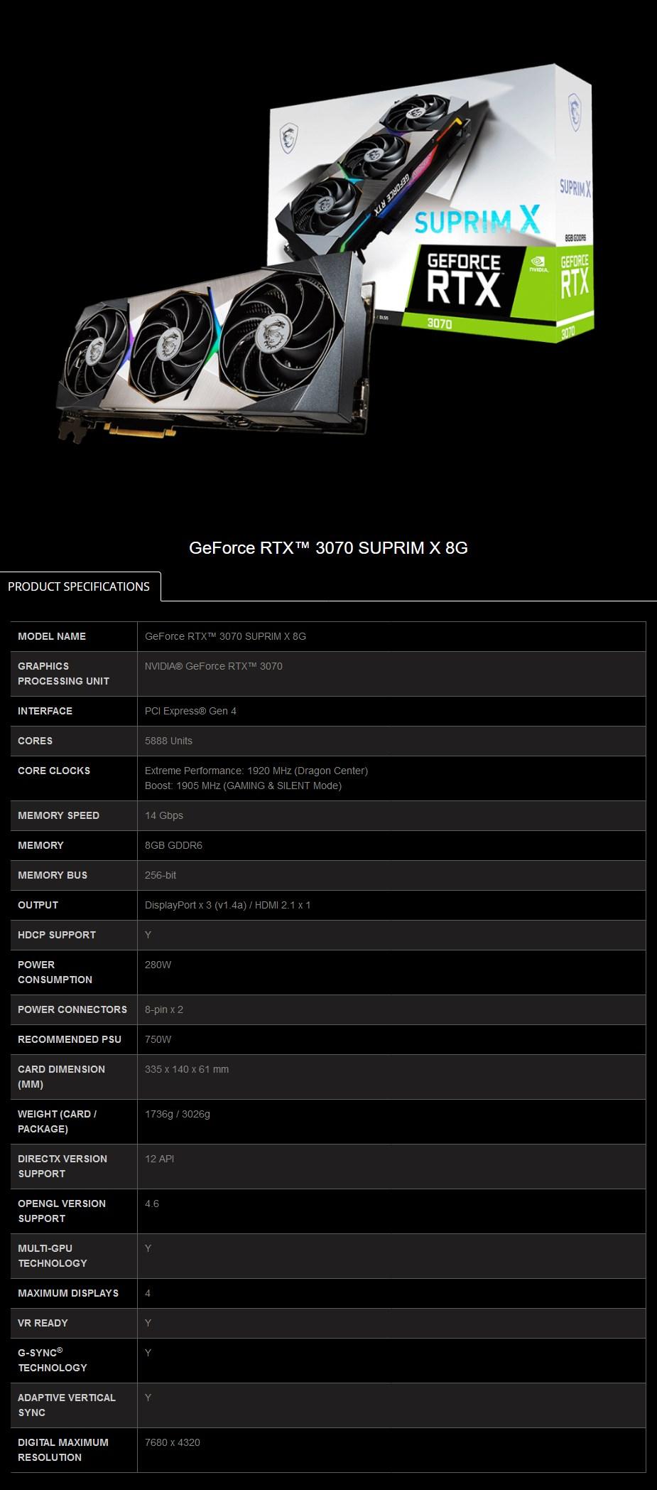 MSI GeForce RTX 3070 SUPRIM X 8GB Video Card - Overview 2